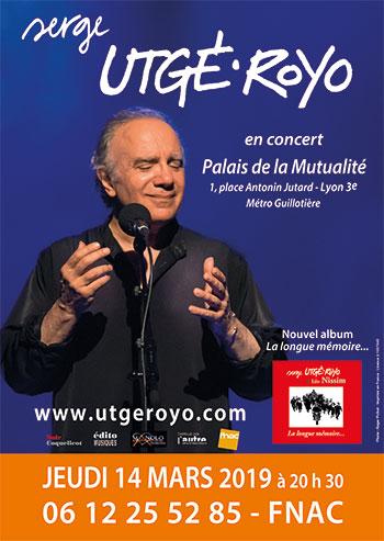 Jeudi 14 mars 2019, 20 h 30, à Lyon (69), Palais de la Mutualité