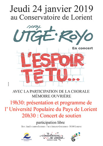 Jeudi 24 janvier 2019, 20 h 30, à Lorient (56), Auditorium du Conservatoire