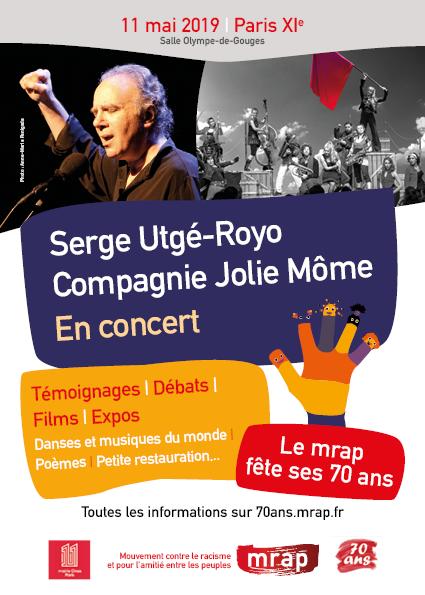 Le samedi 11 mai, à partir de 14 h, participation au 70e anniversaire du MRAP, à Paris 11e
